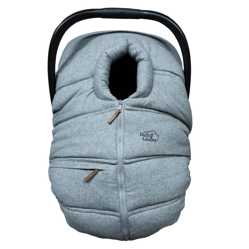 Winter Baby Car Seat Cover Wool - Light gray