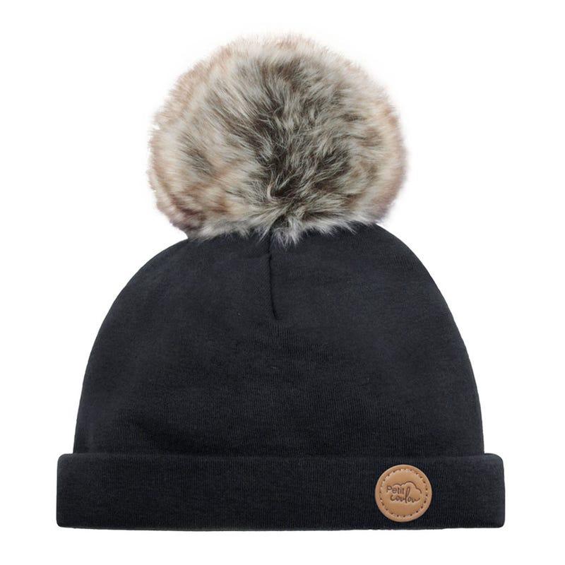 Tuque Pompon 0-6m Noir Loup