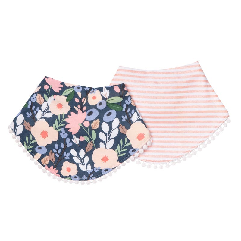 Bibs Set of 2 Flowers Navy Audrey