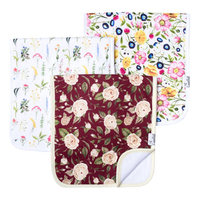Burp Cloths Set of 3 - Flower Scarlet