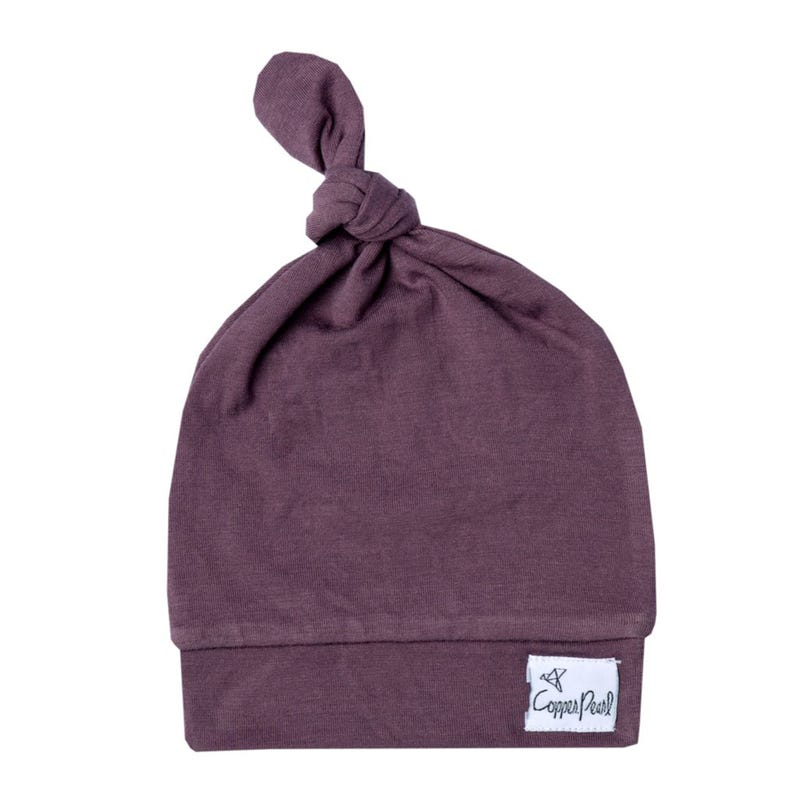 Top Knot Hat 0-4m - Plum