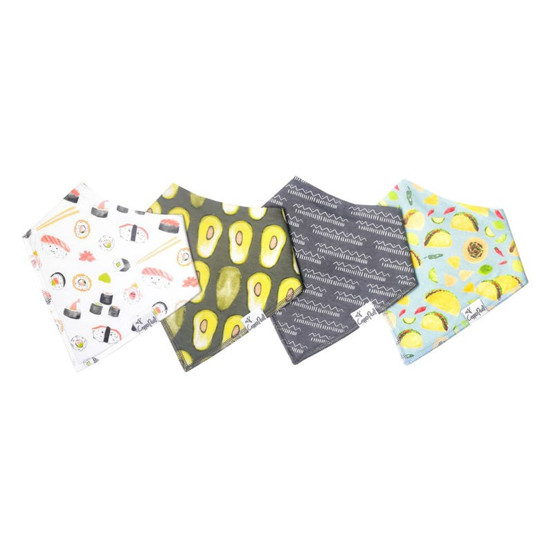 Baby Bandana Bibs Set of 4 - Sushi Avocado Baja