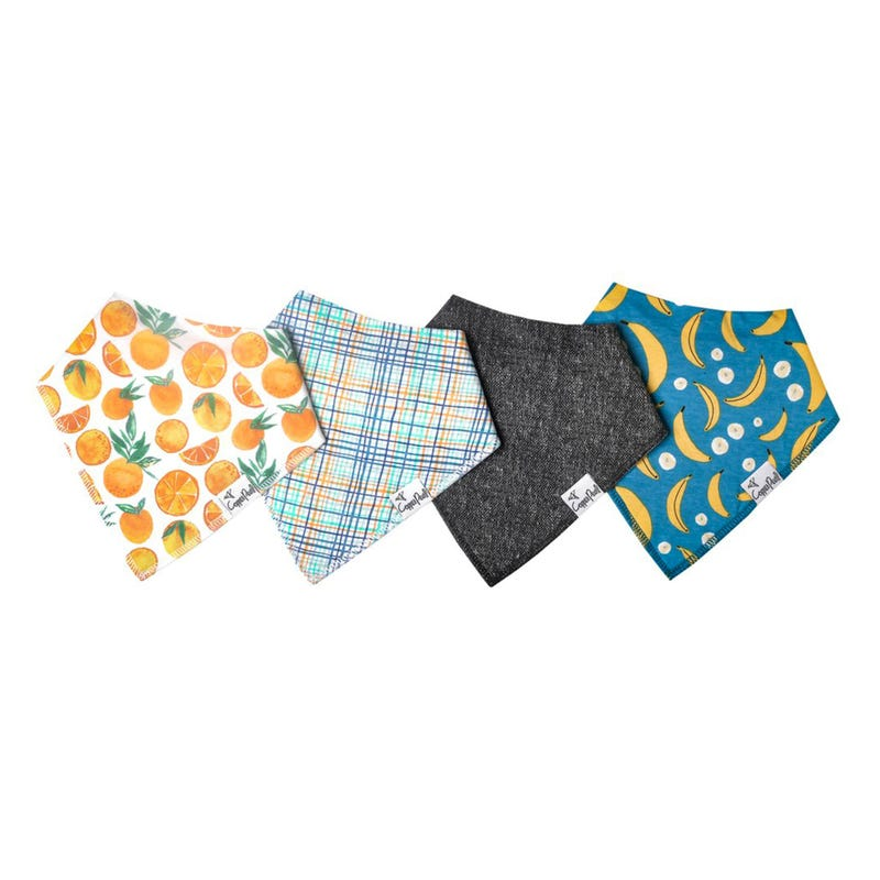 Baby Bandana Bibs Set of 4 - Orange Citrus