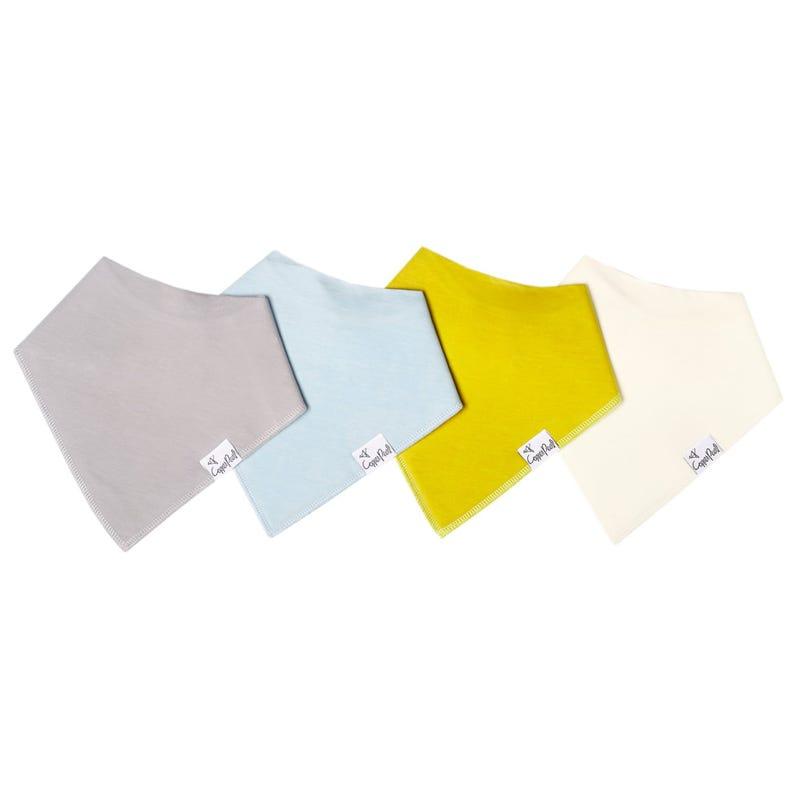 Baby Bandana Bibs Set of 4 - Stone Grey Yellow Blue