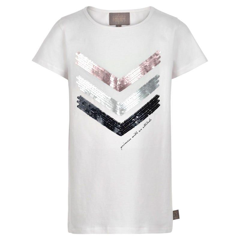 T-Shirt Paillettes Fleurs 7-14ans