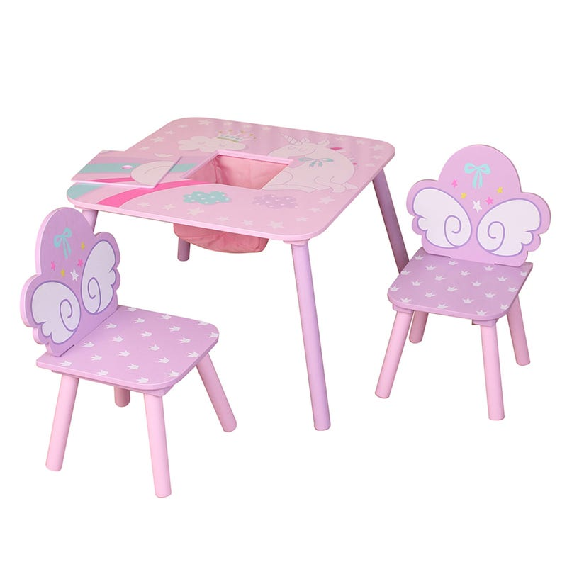 Table and 2 Chairs for Kids - Unicorn