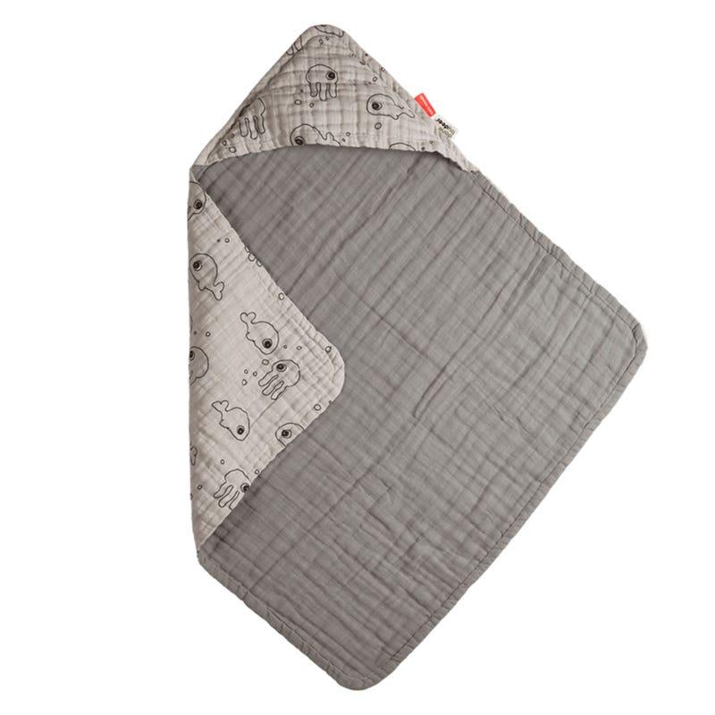 Hooded Towel - Sea Friends Grey