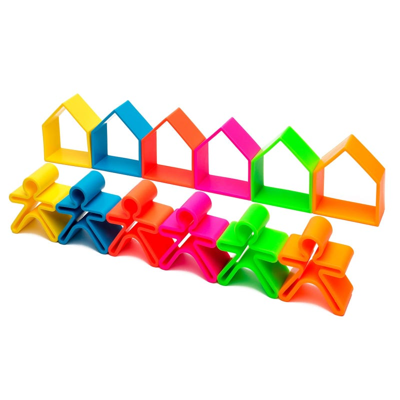 6 Kids + 6 Houses Stackable Toys - Neon