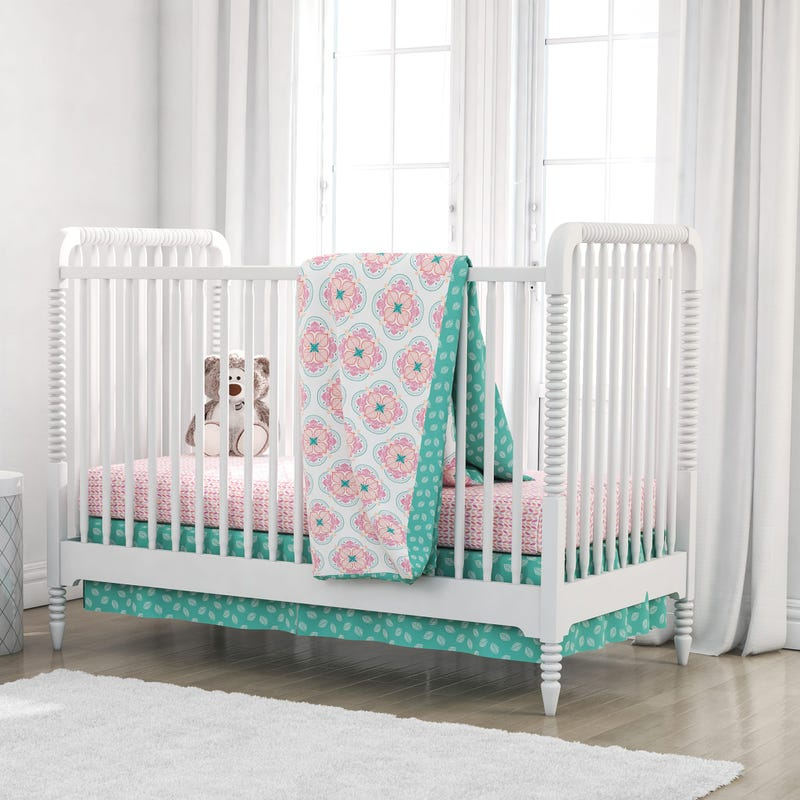 4-Piece Crib Bedding Set - Pink Cora