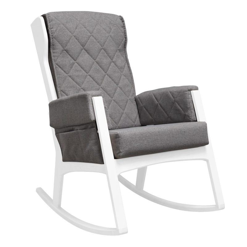 Chaise Berçante - Bois Blanc et Tissu Gris #5308