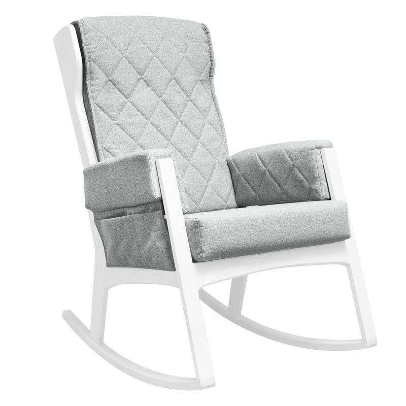 Chaise Berçante - Bois Blanc et Tissu Gris #5309