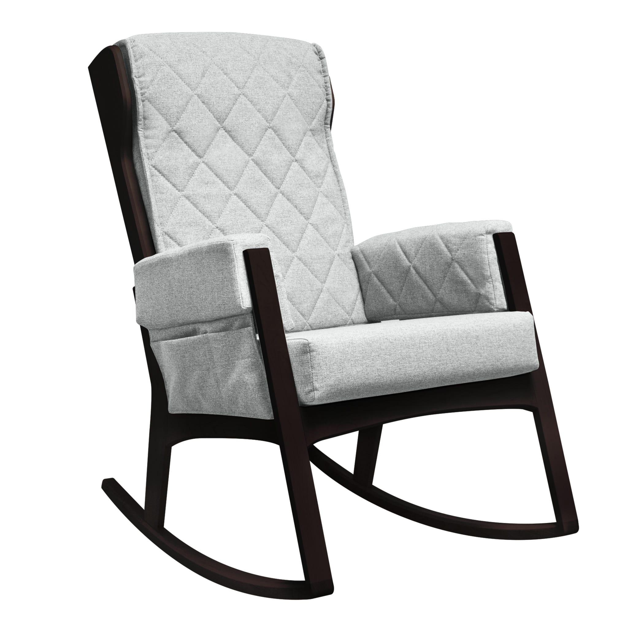 Quel Tissu Pour Chaise chaise berçante margot - bois expresso et tissu gris #5309 dutailier -  clément