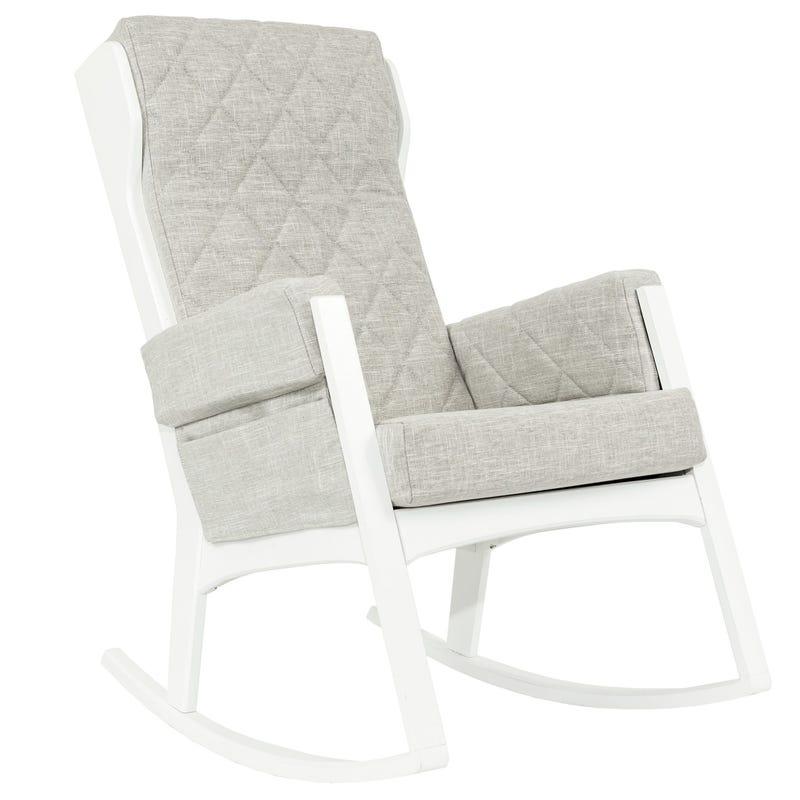 Chaise Berçante Margot - Bois Blanc / Tissu Non Lavable Gris #5211