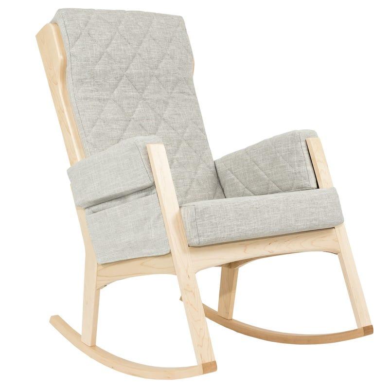 Chaise Berçante Margot Grand - Bois Naturel / Tissu Non Lavable Gris #5211