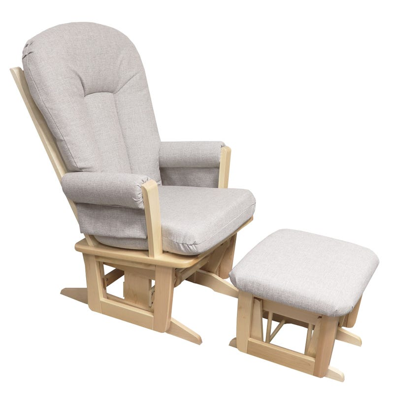 Exclusive Rocking Chair and Stool - Natural Wood / Beige Gray Fabric