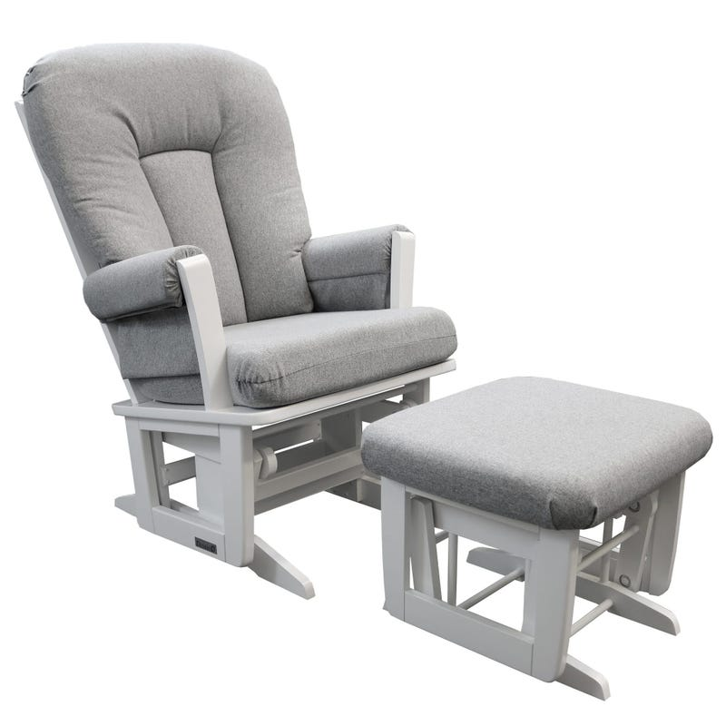 Rocking Chair And Gliding Ottoman - White Wood And Gray Fabric #5299