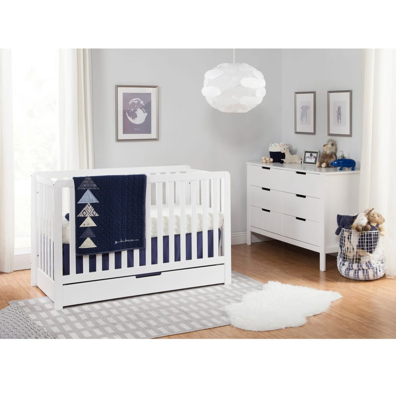 Colby 4-in-1 Convertible Crib with Trundle Drawer - White