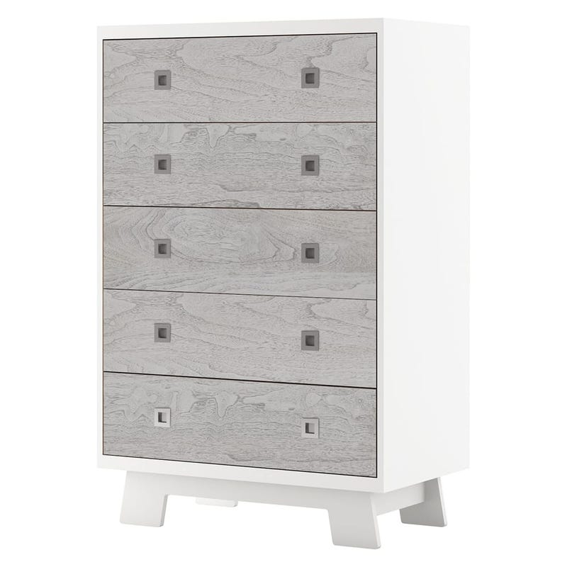 5 Drawers Chest Pomelo White And Gray
