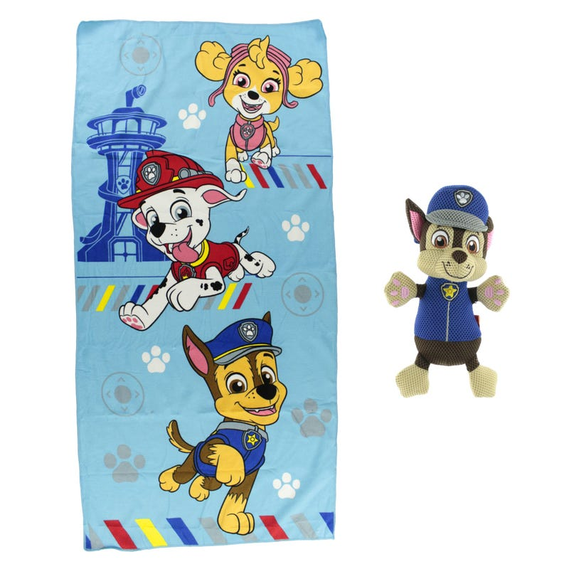 Bath Towel and Washable Scrubby - Chase Paw Patrol