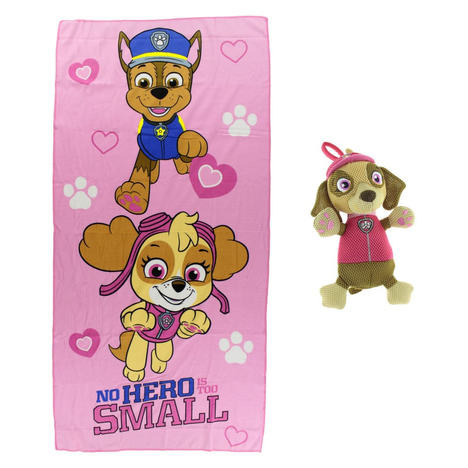 Pat Patrouille Bath Towel And Washable Scrubby Stella Paw Patrol Clement