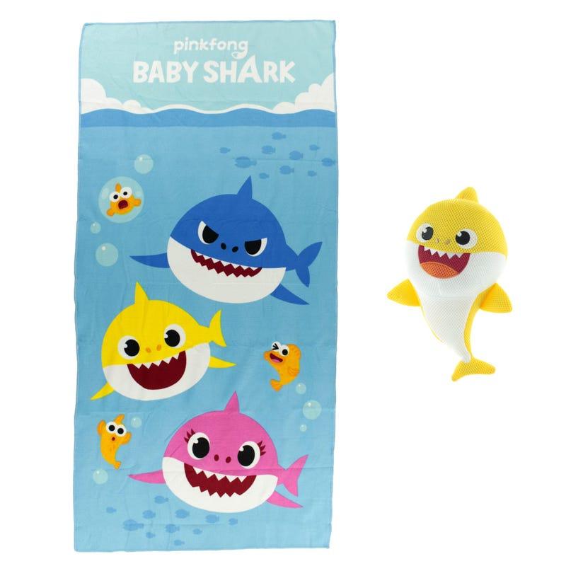 Bath Towel and Washable Scrubby - Baby Shark