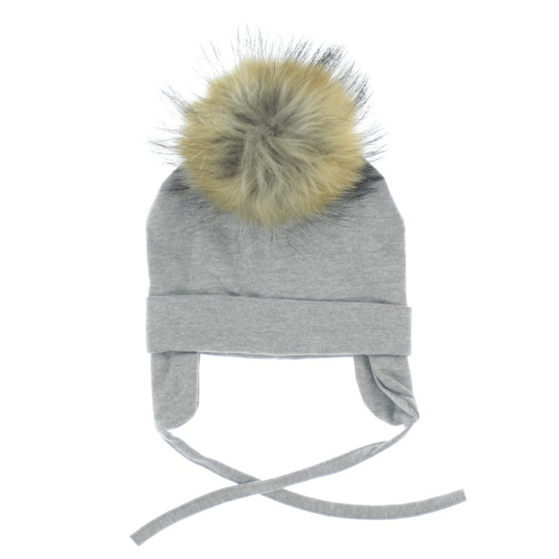 Fur Pompom Cotton Beanie 0-12m