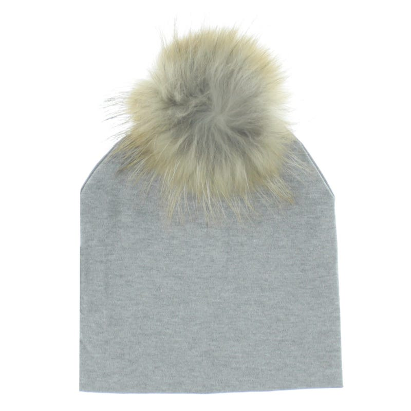 Fur Pompom Cotton Beanie 7-14y