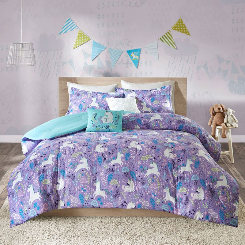 Double / Queen Comforter Set - Lola Unicorn Purple