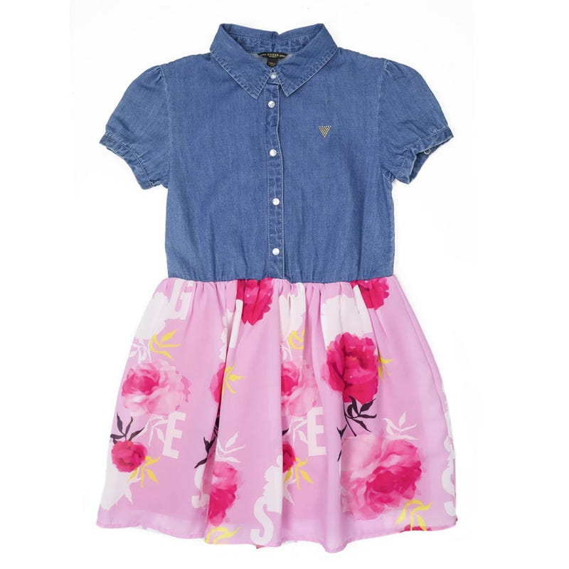Mixed Fabric Short Sleeves Dress 7-14y
