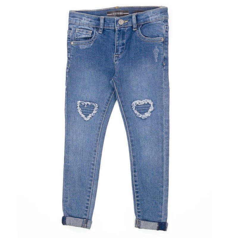 Pantalon Denim Skinny Florale 2-6x