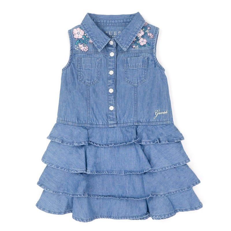 Denim Frills Dress 2-7y