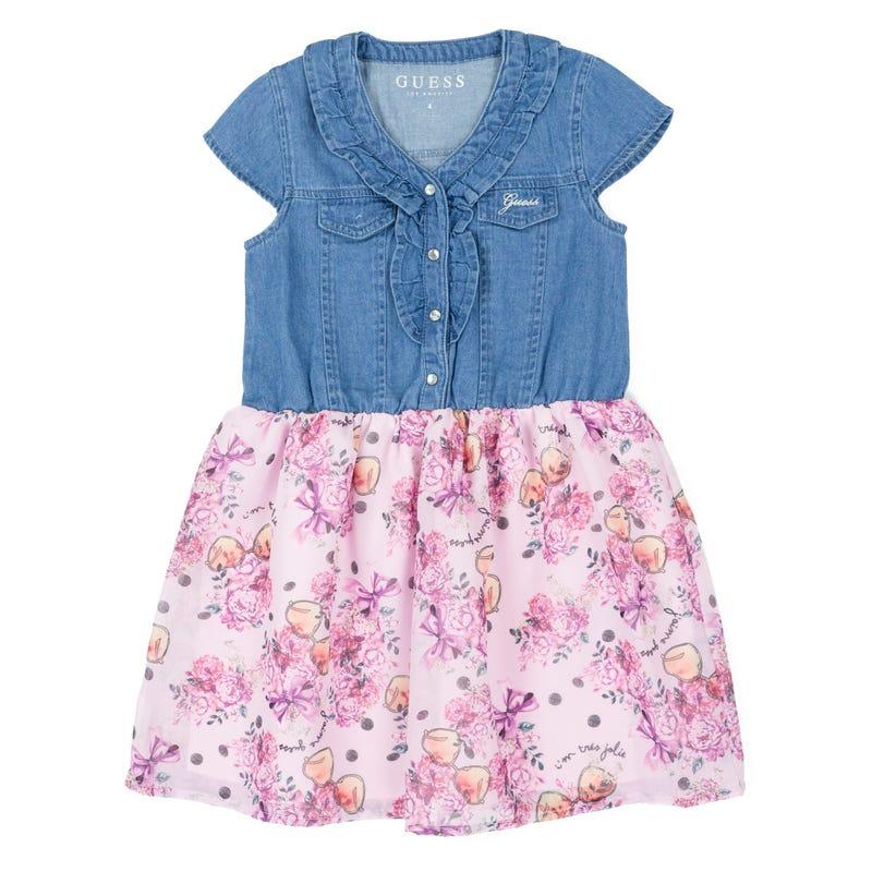 Denim Flower Dress 2-7y