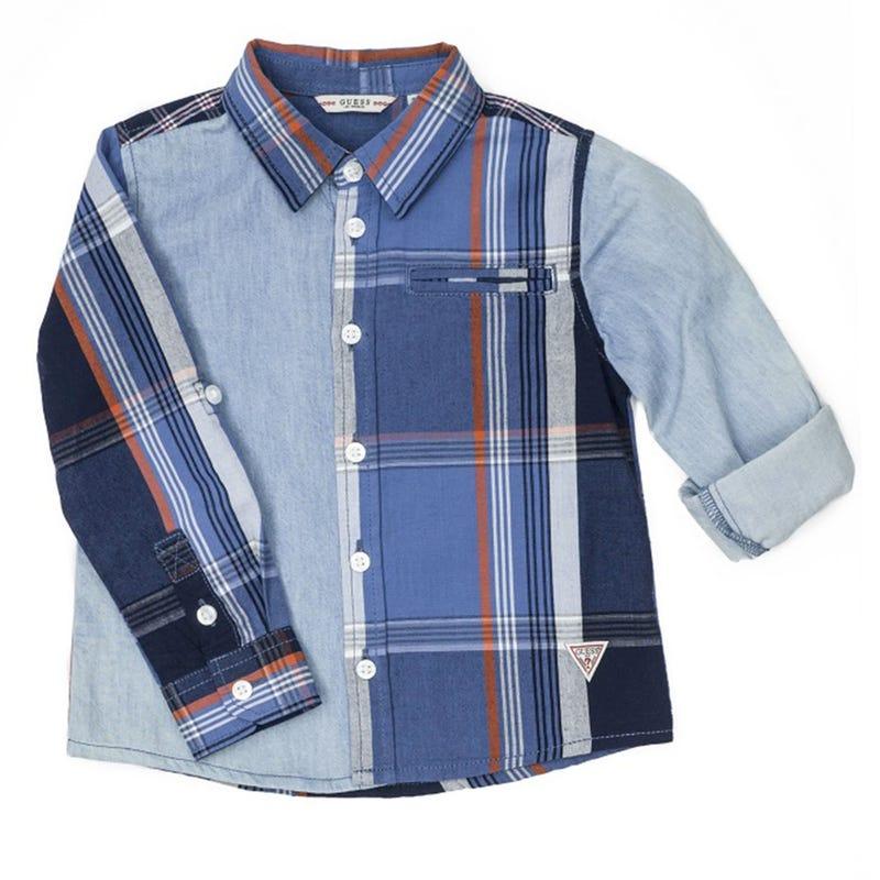 Mixed Fabric Long Sleeves Shirt 2-6x