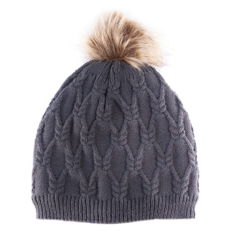 Knit Beanie with Fur Pompom 4-6y