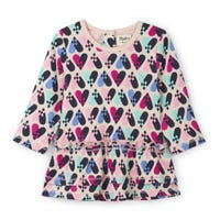 Birds Hearts L/S Dress 3-24m