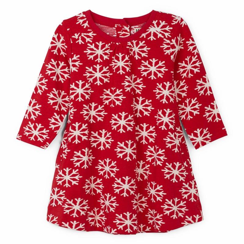 Snowflakes L/S Dress 3-24m