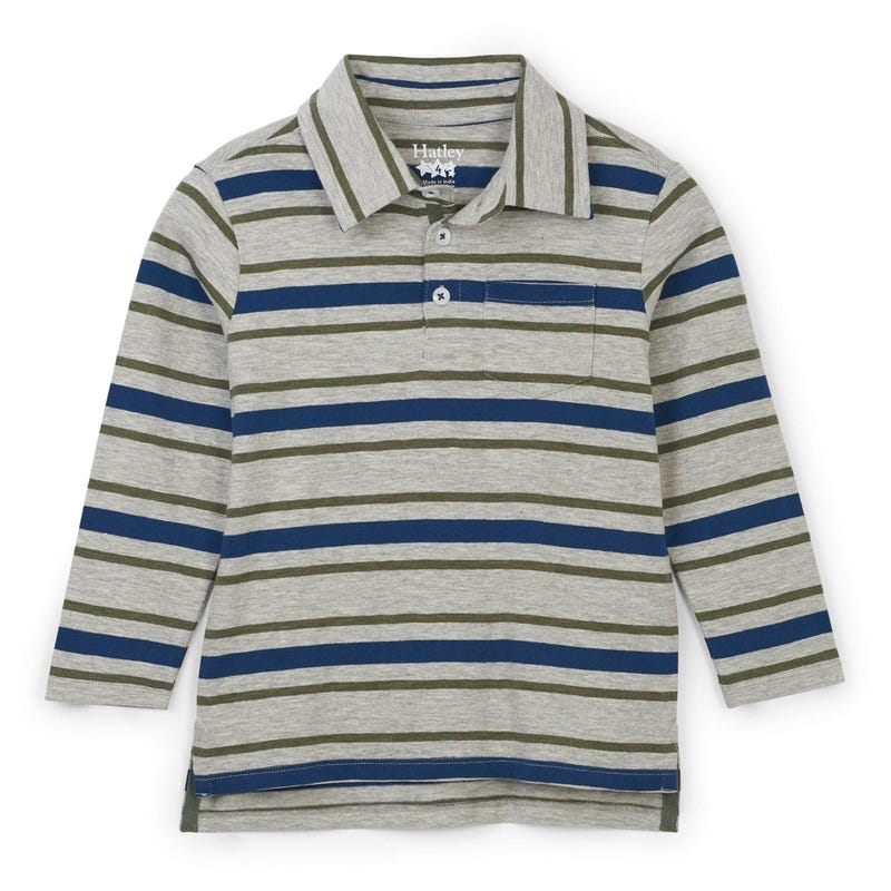 Dino Striped L/S Polo 2-8