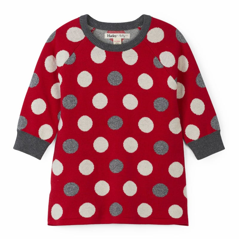 Robe Manches Longues Pois Flocons 3-24mois
