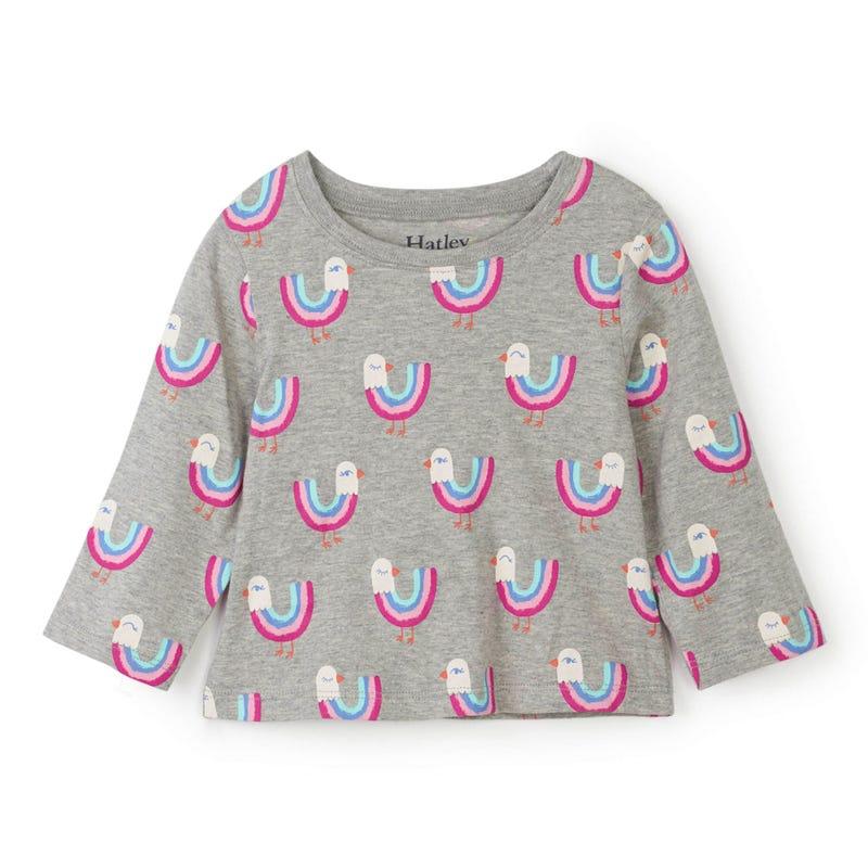 T-Shirt à Manches Longues Oiseaux 3-24mois