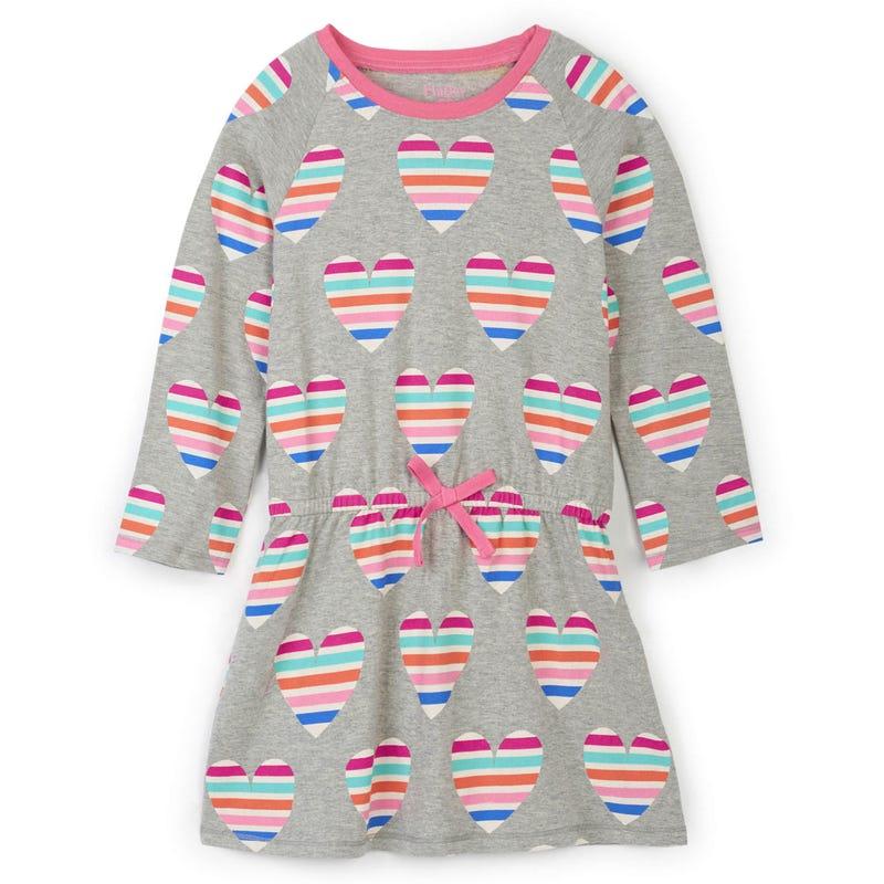 Rainbow Heart L/S Dress 2-10