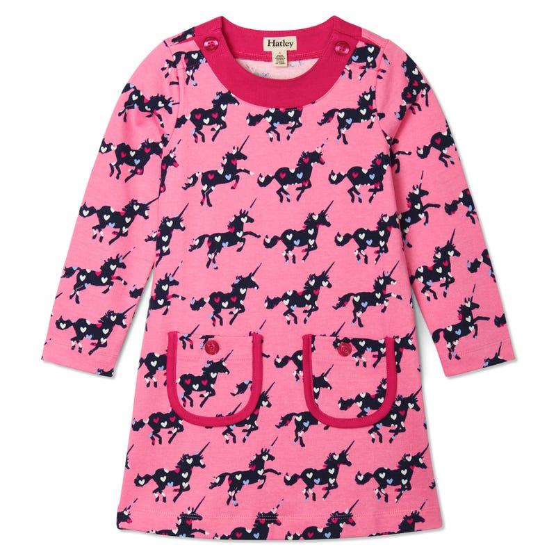 Heart Unicorn Dress 3-8