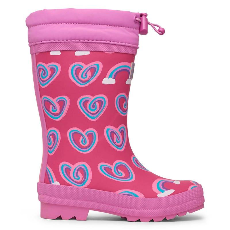Hearts Sherpa Rain Boots Sizes 4-3