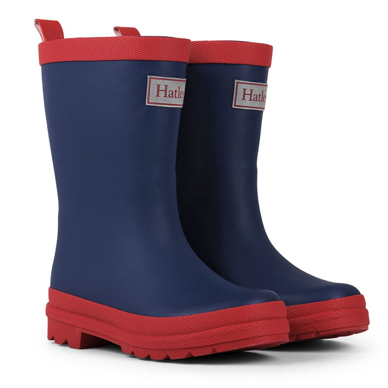 Matte Rain Boots Sizes 4-3 - Navy/Red