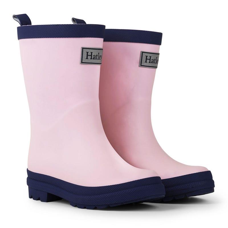 Matte Rain Boots Sizes 4-3 - Navy/Pink