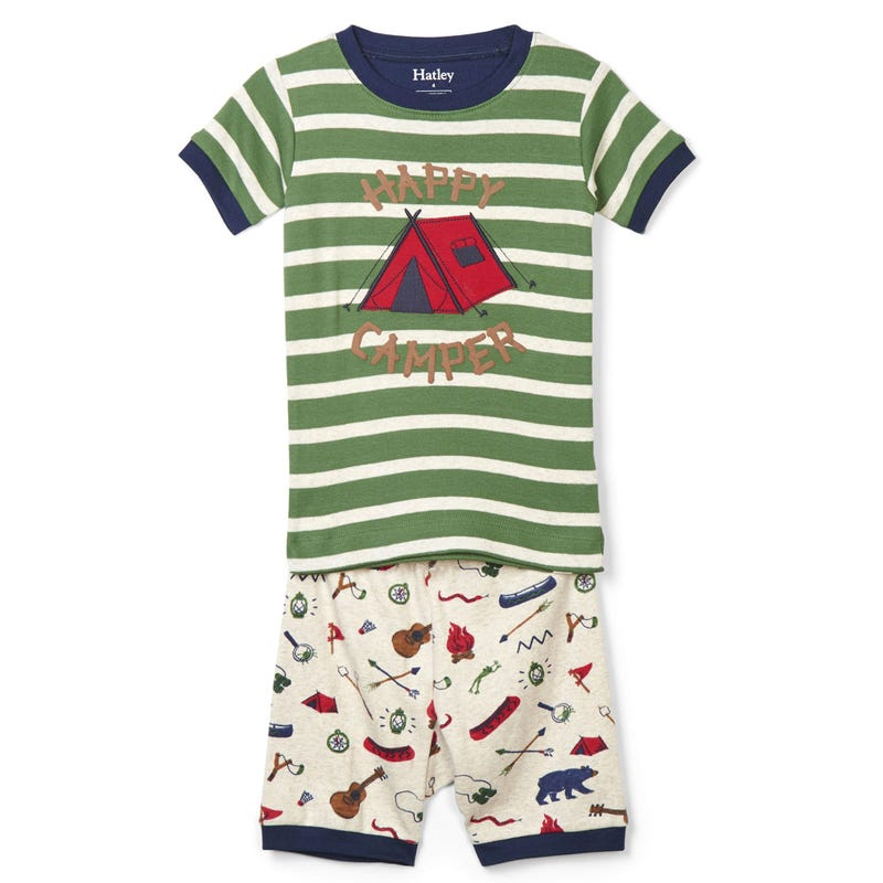 Summer Camp Appliqué Organic Cotton Short Pajama Set 2-12y