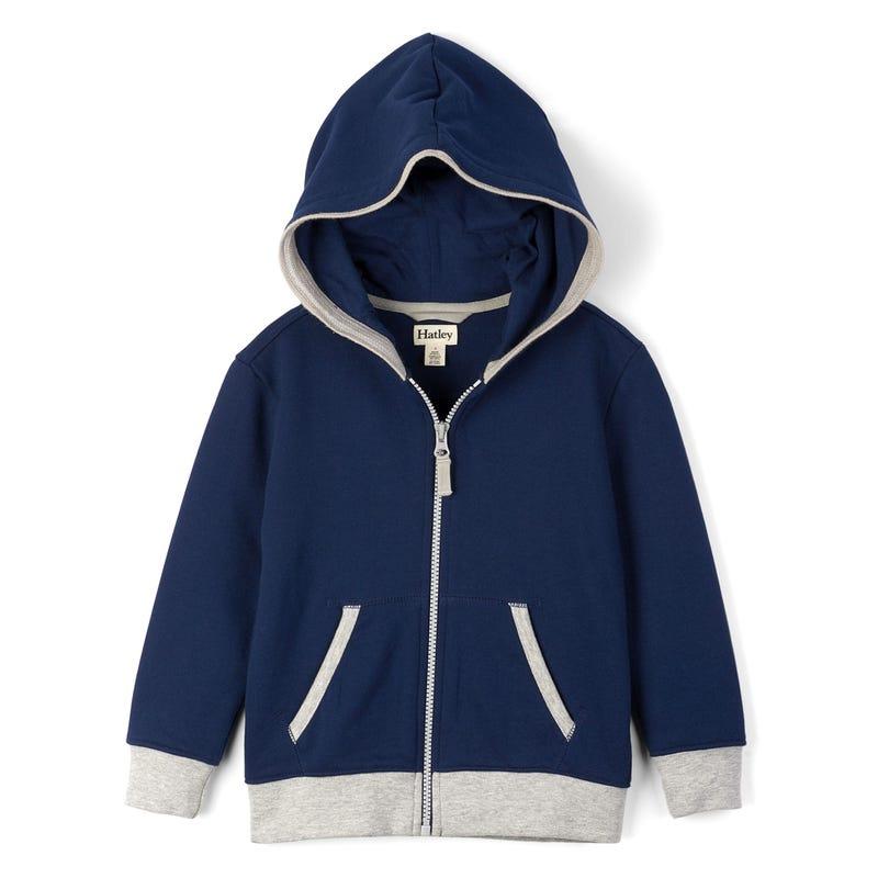 Full Zip Basic Hoodie 2-8y - Navy