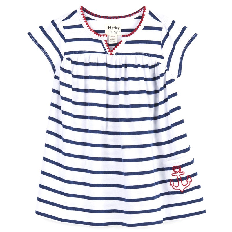 Nautical Stripes Puff Dress 3-24m