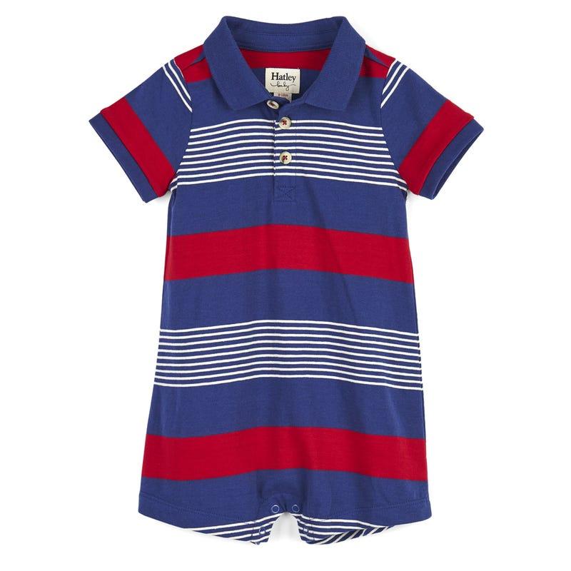 Navy Striped Baby Romper 3-24m