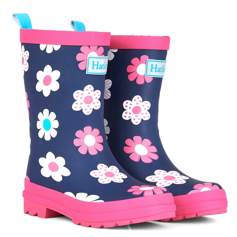 Matte Rain Boots Sizes 4-3 - Spring Flowers