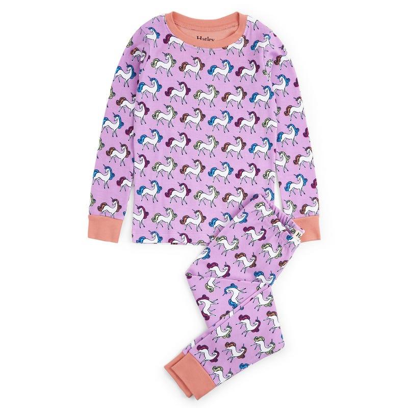 Rainbow Unicorns Organic Cotton Pajama Set 2-10y